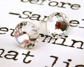 9mm Swarovski stud earrings, clear crystal posts