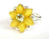 Yellow daisy ring, adjustable sunshine yellow ring