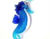 Blue seahorse necklace, turquoise and cobalt blue