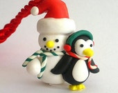 Snowman necklace, penguin necklace, snowman and penguin polymer clay necklace, winter friends, Christmas necklace