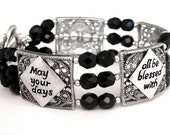 Inspirational words bracelet, antiqued silver and black Czech glass