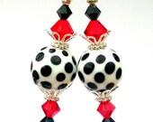 Polka dot earrings, black and white, red and Swarovski crystal, lampwork glass