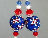 Red, white and blue earrings, polymer clay, patriotic earrings, July 4, Swarovski crystal, Fourth of July earrings, Independence Day