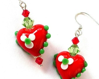 Red heart earrings, Christmas sparkle, lampwork glass heart earrings, Swarovski crystal, red flower heart, red and green