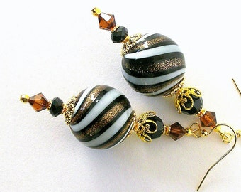 Large blown glass earrings, cocoa brown earrings, bronze and white earrings with Swarovski crystal elements