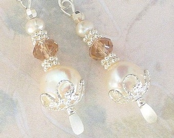 Pearl and crystal earrings, creamy white freshwater, Swarovski crystal