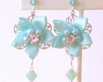 Aqua blue floral earrings, twinkling camellias, blue fabric daisy earrings