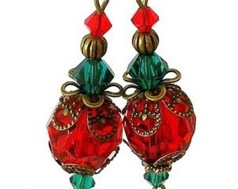 Red and green earrings, vintage style Christmas earrings, ruby and emerald crystal, Christmas earrings