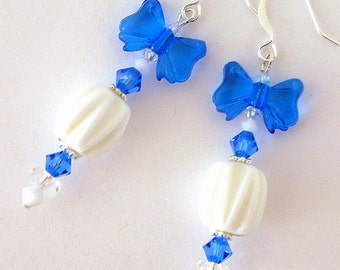 Blue and white bowtie earrings, sapphire blue and creamy white