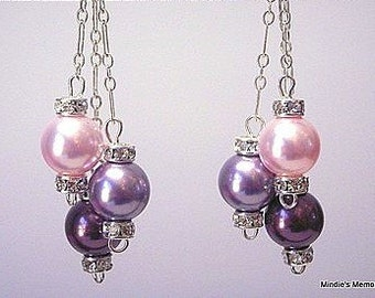 Pearl and crystal earrings, pink, mauve and burgundy Swarovski, classic and dressy