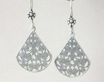 Silver filigree earrings, teardrop shape, antiqued silver, fancy statement, vintage style, boho