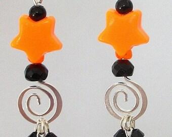 Orange and black earrings, Halloween earrings, stars and swirls, Swarovski crystal, black and orange earrings