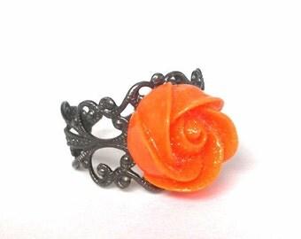 Orange floral ring, adjustable, mango - gunmetal Art Nouveau filigree setting