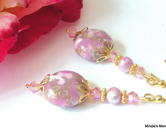 Lavender and gold earrings, vintage beads, Swarovski crystal