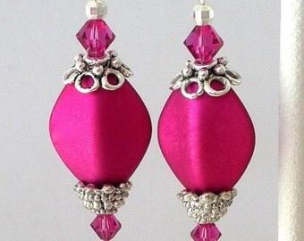 Magenta earrings with crystal, fuchsia earrings, pink Swarovski crystal earrings
