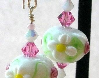 White flower earrings, garden earrings, pink and white earrings , white lampwork glass earrings, Swarovski crystal