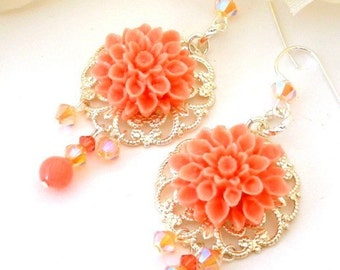 Coral pink flower earrings, dahlia filigree earrings, coral floral, bridal earrings, birthday gift for her