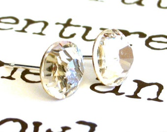 7mm Swarovski clear crystal stud earrings, 7mm clear Swarovski crystal post earrings
