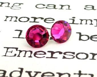 Fuchsia Swarovski crystal stud earrings, 7mm magenta crystal post earrings