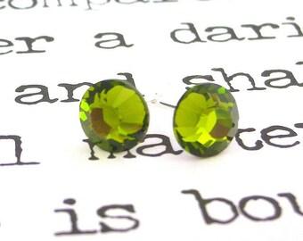 Olivine green Swarovski crystal post earrings, olive green crystal stud earrings, 7mm olive studs