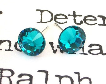Blue Zircon stud earrings, Swarovski crystal post earrings, 7mm