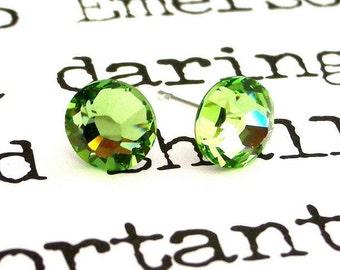 Peridot Swarovski earrings, crystal studs, post earrings, 7mm