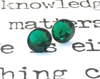 Emerald green Swarovski stud earrings, crystal posts, 7mm