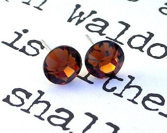 Smoked Topaz Swarovski crystal stud earrings on posts, 7mm