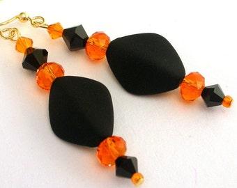 Black and orange earrings, Halloween earrings, orange crystal and velvet black, orange and black earrings