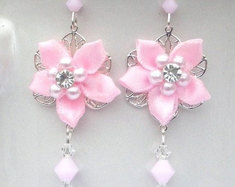 Pink floral fabric earrings, twinkling camellias with crystal, pink flower, birthday gift, gift for her