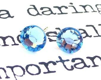 Light sapphire blue Swarovski earrings, crystal posts