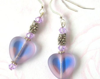 Lavender purple heart earrings, purple glass heart earrings, two tone purple and blue, Swarovski crystal and glass earrings, gift for her