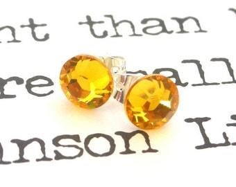 Sunflower yellow crystal post earrings, Swarovski studs