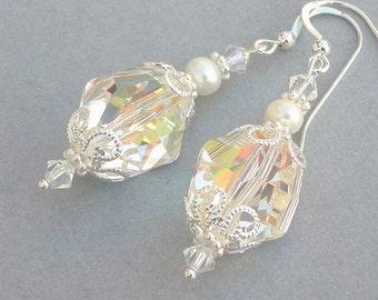 Swarovski crystal earrings, AB aurora borealis earrings, bridal earrings, freshwater pearl and crystal earrings, sparkly rainbow AB