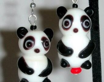 Panda bear earrings, black and white animal earrings, lampwork glass