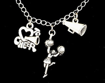 Cheerleader necklace, cheerleading charms, coach, megaphone, pom poms, daughter, antiqued silver, gift for girl, present for teen