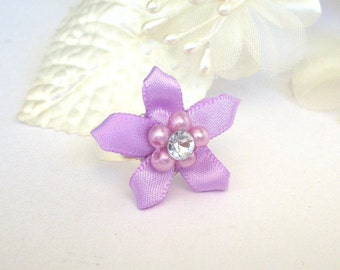 Lilac flower ring, adjustable, purple camellia floral ring