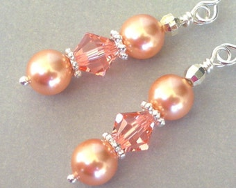 Rose peach pearl and crystal earrings, Swarovski