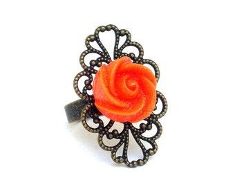 Floral statement ring, orange flower ring, large antiqued bronze filigree setting, adjustable