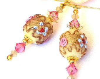 Wedding cake earrings, vintage floral foiled glass beads, Swarovski crystal