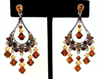 Smoked topaz crystal chandelier earrings, Swarovski brown dramatic earrings