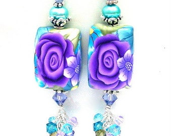 Gorgeous blue and purple earrings, floral, Swarovski crystal, freshwater pearl, polymer clay, purple and turquoise cluster