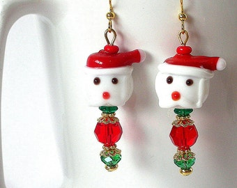 SALE - 15% off - Christmas Santa earrings, lampwork glass, Swarovski crystal, bling, Santa face with hat, red and green earrings