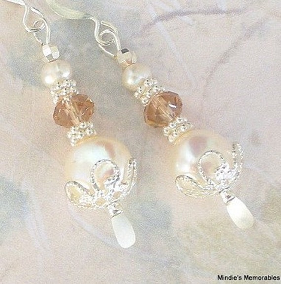 Pearl and crystal earrings, creamy white freshwater, Swarovski crystal