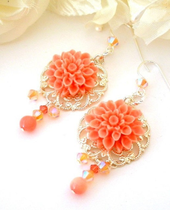 Coral pink flower earrings, dahlia filigree earrings, coral floral, bridal earrings, Mother's Day gift for her