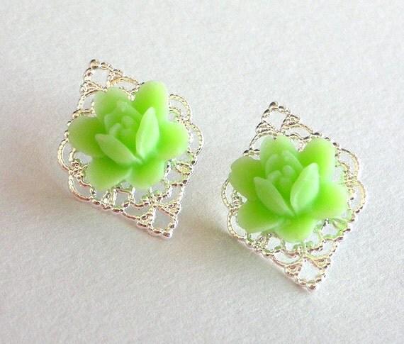 Silver filigree lime green earrings, floral flower posts