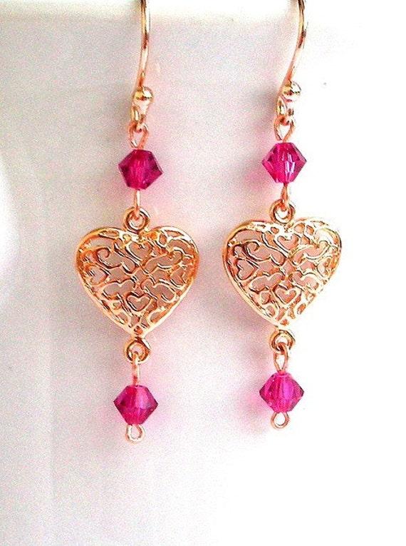 Rose gold heart earrings, fuchsia Swarovski crystal, Valentine's Day gift, rose gold