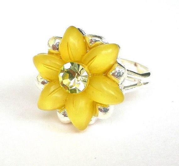 Yellow daisy ring, adjustable sunshine yellow ring