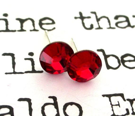 Siam red crystal stud earrings, Swarovski crystal deep red posts, Christmas deep red earrings