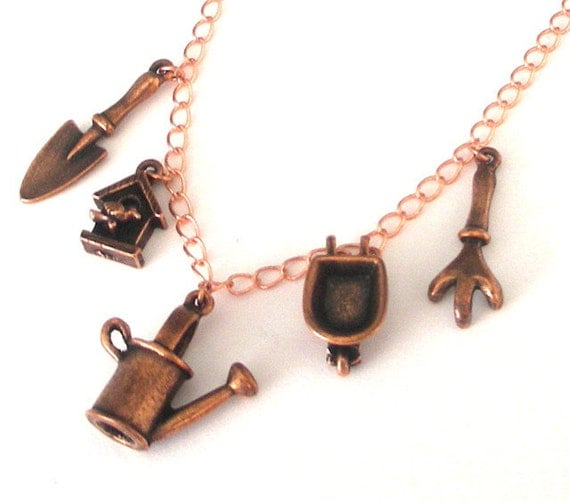 Copper gardening necklace, antiqued copper plated pewter, gardener charm necklace, watering can, birdhouse, trowel, wheelbarrow, cultivator